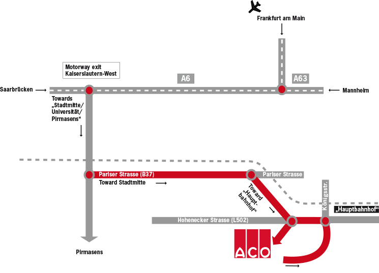 Sketch how to reach ACO Guss and ACO Eurobar in Kaiserslautern by car, train or plane